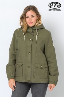 Animal Olive Green Borg-Lined Shortay Parka