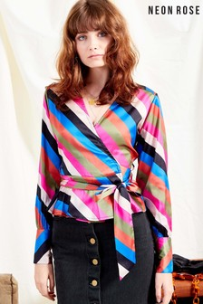 Neon Rose Pink Sienna Stripe Satin Wrap Top With Tie Belt