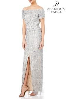 Adrianna Papell Petite Long Beaded Dress