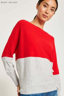Mint Velvet Red Blocked Batwing Jumper