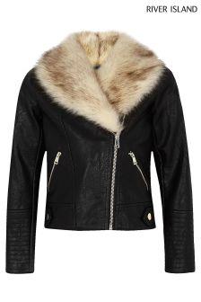 River Island Faux Fur Collar Jacket