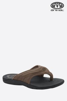 Animal Brown Fader Leather Flip Flop