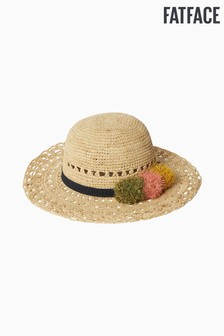 FatFace Natural Multi Pom Straw Hat