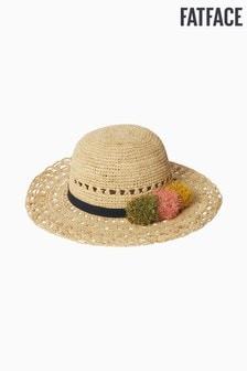 FatFace Natural Multi Pom Straw Hat