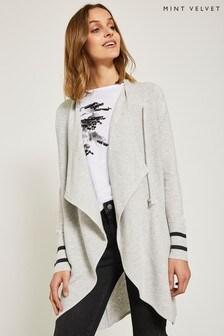 Mint Velvet Grey Stripe Sleeve Ottoman Longline Cardigan