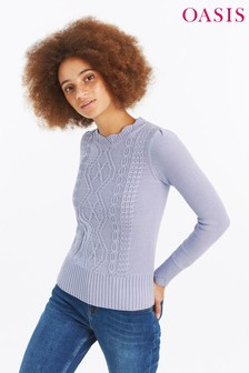 Oasis Blue Laura Cable Jumper