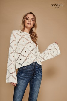Sonder Studio Diamond Crochet Long Sleeve Jumper