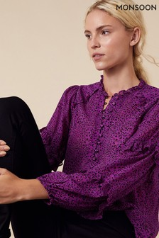 Monsoon Purple Animal Print Blouse