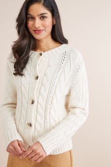 Cable Crew Neck Cardigan