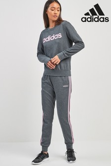 adidas Grey Heather 3 Stripe Jogger