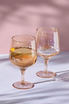Lustre Effect Set of 2 Wine Glasses