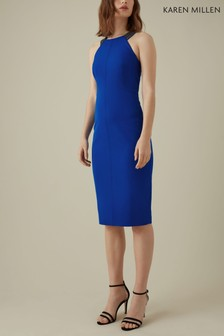 Karen Millen Blue Jewelled Strap Dress