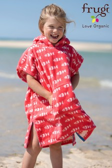 Frugi Organic Red Fish Havana Hooded Towel
