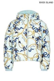 River Island Blue Chain Print Padded Jacket