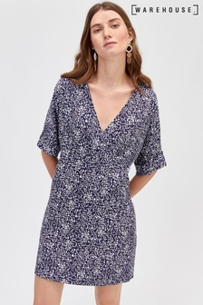 Warehouse Navy Pattern Spiral Print Wrap Shift Dress