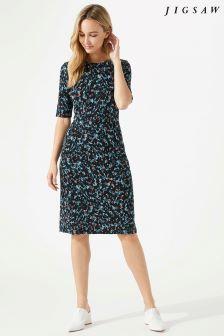 Jigsaw Blue Island Print Jersey Dress