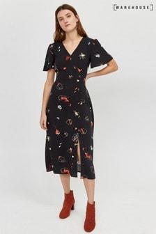 27eb0c7548 Warehouse Black Floral Print Midi Dress