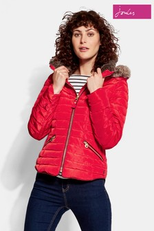 Joules Gosling Short Padded Coat With Faux Fur Trimmed Hood
