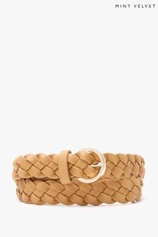 Mint Velvet Camel Plaited Leather Belt