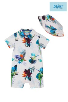 baker by Ted Baker White Printed Romper With Hat