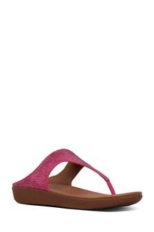 FitFlop™ Pink Banda Toe Post Crystal Pave Sandal