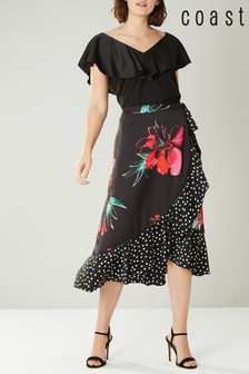 Coast Black Evie Rose Print Skirt