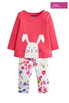 Joules Deep Pink Bunny Novelty Appliqué Set