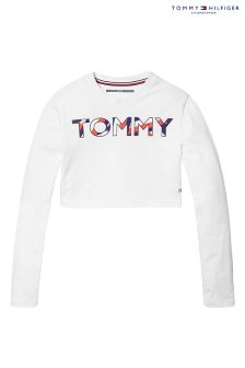 Tommy Hilfiger White Girls Beryl Sports Cropped T-Shirt