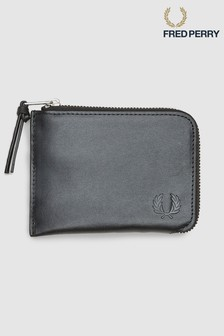 Fred Perry Black Leather Zip Around Wallet