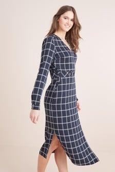 فستان ملفوف متوسط الطول