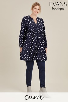 Evans Blue Curve Spot Gathered Tunic