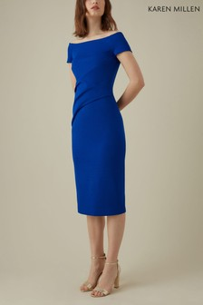 Karen Millen Blue Highline Bardot Dress