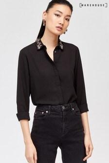 Warehouse Black Embellished Collar Shirt