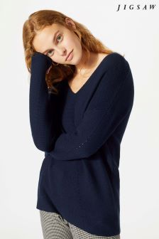 Jigsaw Blue Cotton Cash V-Neck Jumper