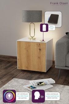 Frank Olsen Smart LED White and Oak Lamp Table