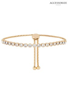 Accessorize Gold Tone Slider Bracelet With Swarovski® Crystals