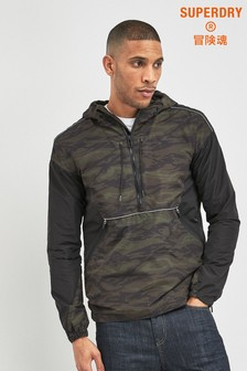 Superdry Black Camo Cagoule Coat