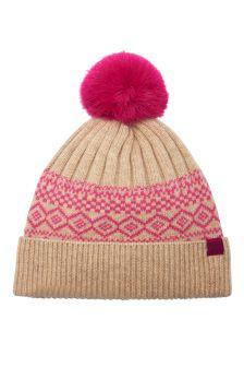 Joules Cream Fairisle Pattern Knitted Bobble Hat