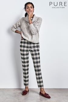 Pure Collection Black/Ivory Check Tailored Ankle Trouser