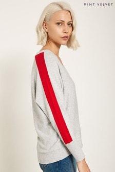 Mint Velvet Pullover mit Fledermausärmeln, Konstraststreifen und V-Ausschnitt, Grau