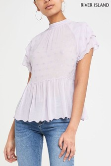 River Island Lilac Embroidered Top
