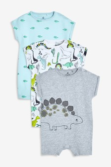 Dinosaur Character Rompers Three Pack (0mths-2yrs)