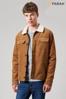 Jachetă din catifea reiată cu guler din fleece Farah Natural Kingsland