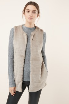 Faux Fur Stripe Gilet