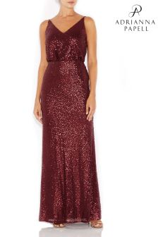 Adrianna Papell Red Sequin Blouson Dress