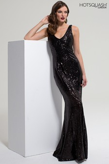 HotSquash Black V-Neck Sequin Maxi Dress