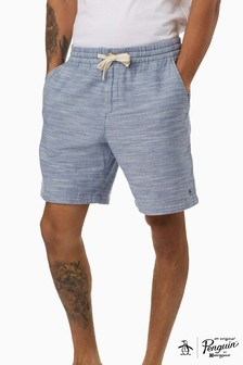 Original Penguin Blue Cotton Elastic Waist Short