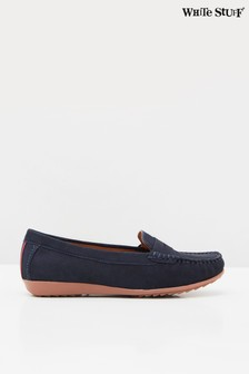 White Stuff Navy Driving Leather Moccasin Shoes