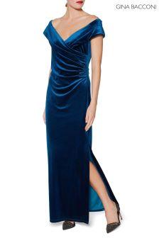Gina Bacconi Blue Cassandra Velvet Maxi Dress