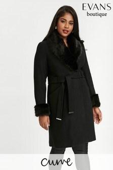 Evans Black Shawl Collar Coat
